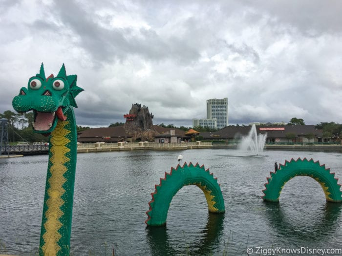 Hurricane Irma in Walt Disney World disney springs lego dragon