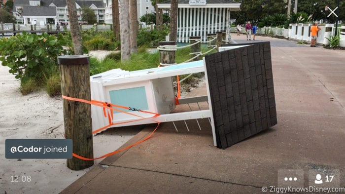 Hurricane Irma in Walt Disney World beach club stall down