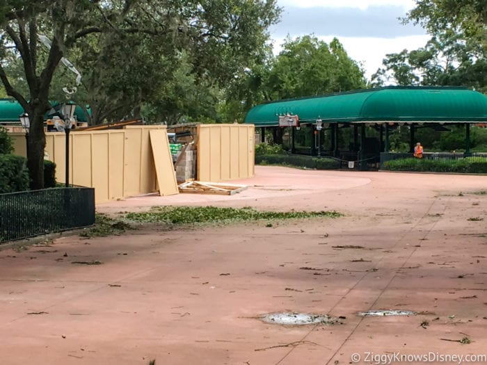 Hurricane Irma in Walt Disney World Epcot International Gateway construction wall