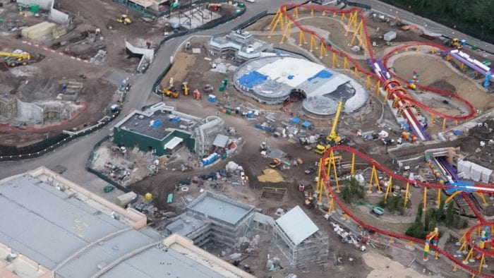 Toy Story Land Construction Update October midway alien swirling saucers
