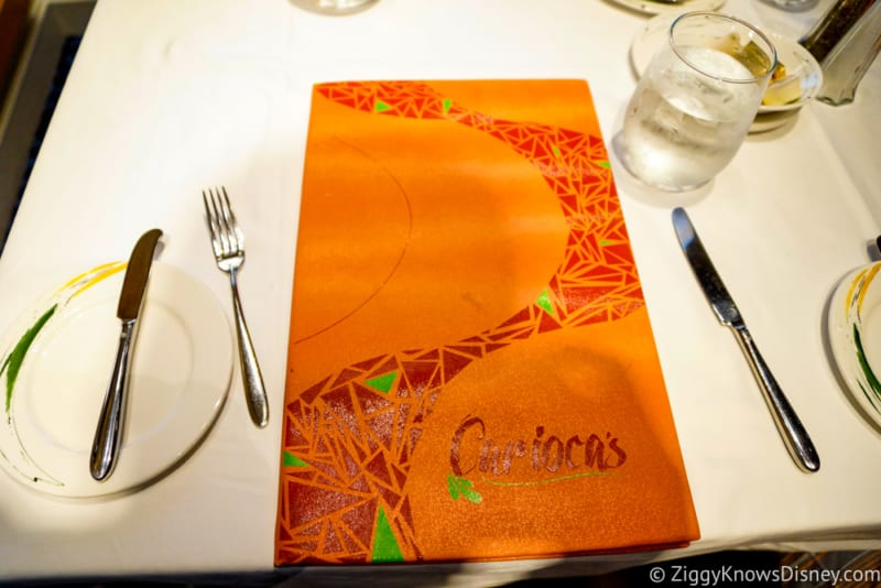 Carioca's Dinner Review Table setting and menu