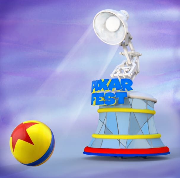 New Pixar Play Parade Floats Disneyland pixar lamp and yellow ball