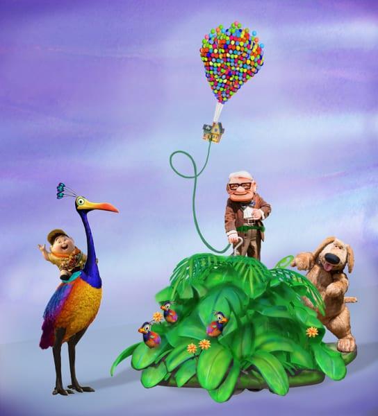 New Pixar Play Parade Floats Disneyland up