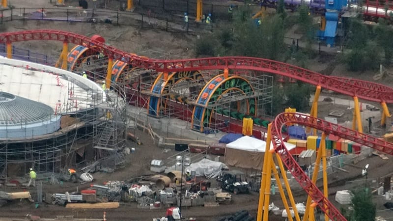 Toy Story Land Construction Update December slinky dog dash rings