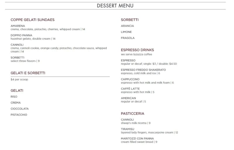 Enzo's Hideaway Tunnel and Bar Menu dessert