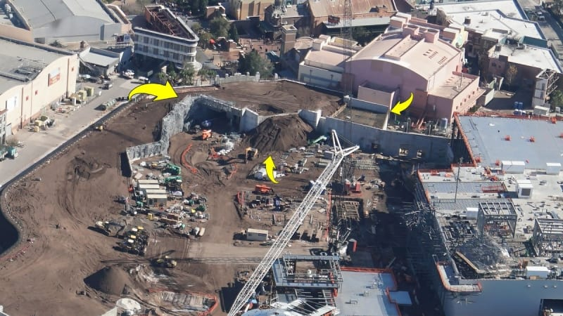 Galaxy's Edge construction update January 2018 hills