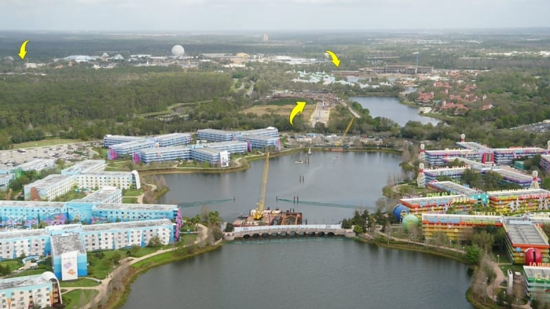 Disney Skyliner Stations Walt Disney World pop century art of animation
