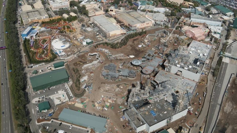 Galaxy's Edge construction update February 2018 aerial shot