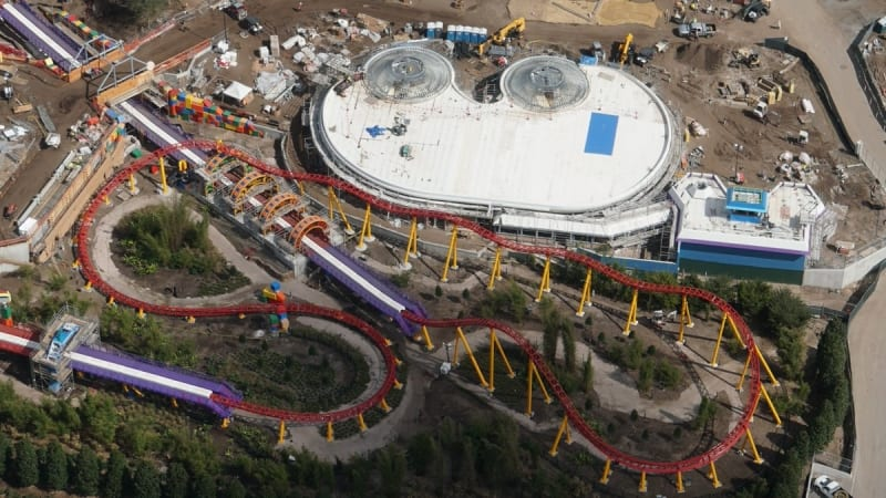 Toy Story Land Construction Update February slinky dog dash alien swirling