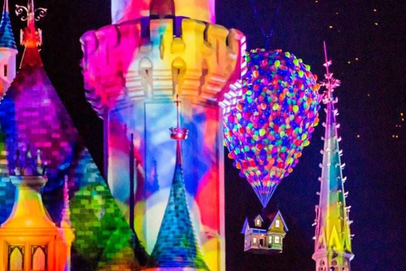 Carl's House Flying Over Sleeping Beauty Castle for Disneyland Fireworks