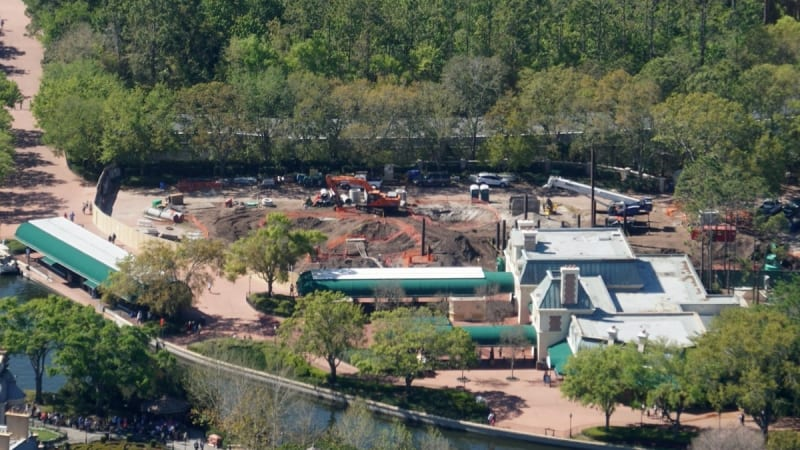 Disney Gondola Construction Epcot Station view