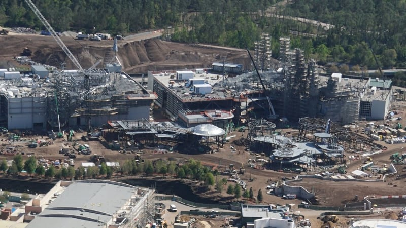 Galaxy's Edge construction update March 2018 aerial view