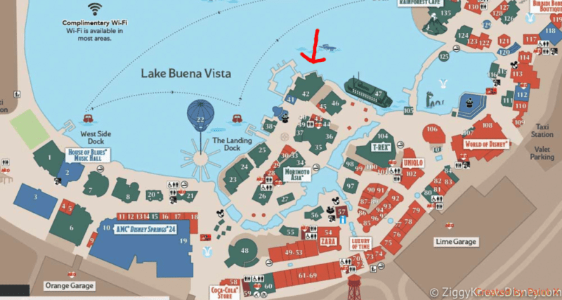 The Boathouse Review Lunch Location on Disney Springs Map