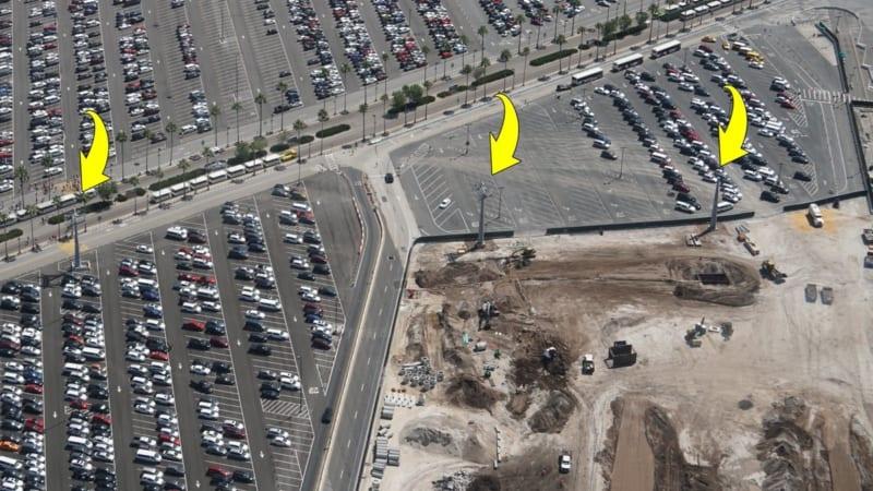 Disney Skyliner Construction Update April 2018 Hollywood studios parking lot