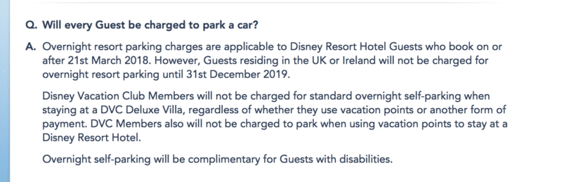 no parking fees United Kingdom walt disney world