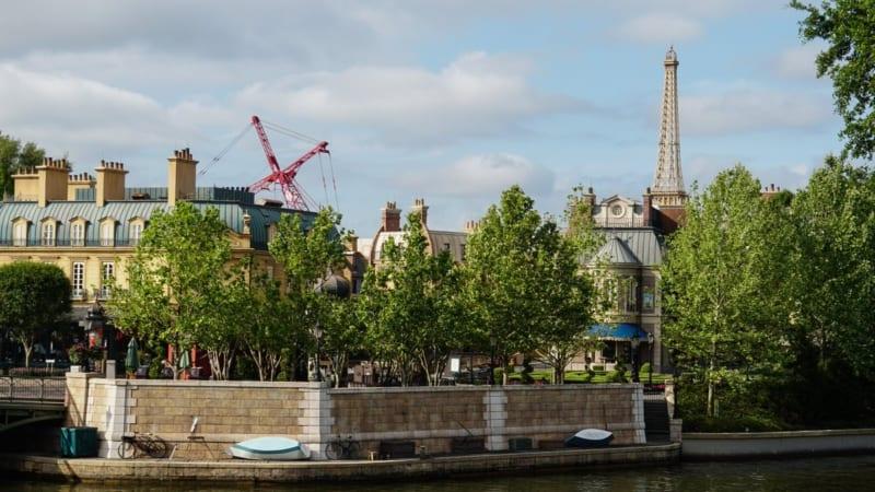 Ratatouille Construction Update Epcot April 2018 France pavilion and crane