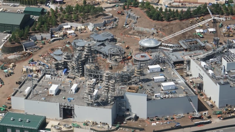 Star Wars Galaxy's Edge Construction Update April 2018 aerial view