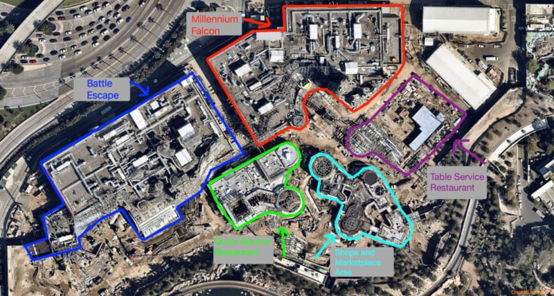 Star Wars Galaxy's Edge Restaurants Layout and Millennium Falcon Model in New Aerial Images