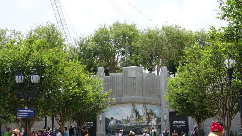 Galaxy's Edge Entrance blocked by Trees close