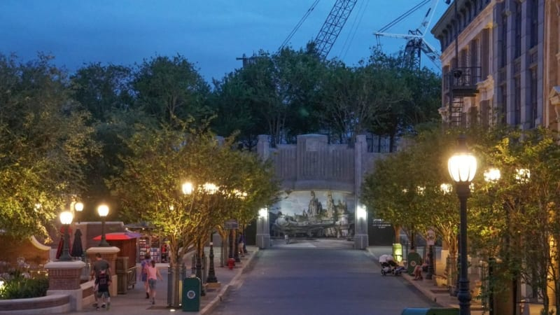 Galaxy's Edge Entrance blocked by Trees at night