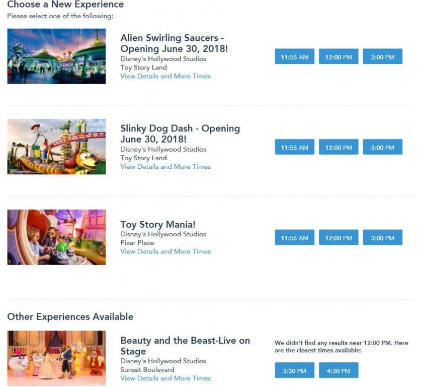 Hollywood Studios fastpass+ tiers