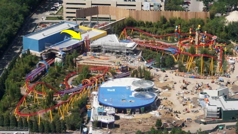 Toy Story Land Construction Update April slinky dog dash entrance