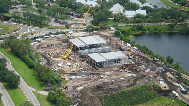 Disney Skyliner Construction Update May 2018 Caribbean Beach station aerial shot