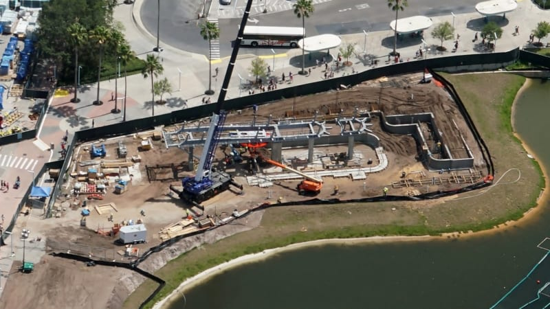 Disney Skyliner Bull Wheel Installed in Hollywood Studios aerial