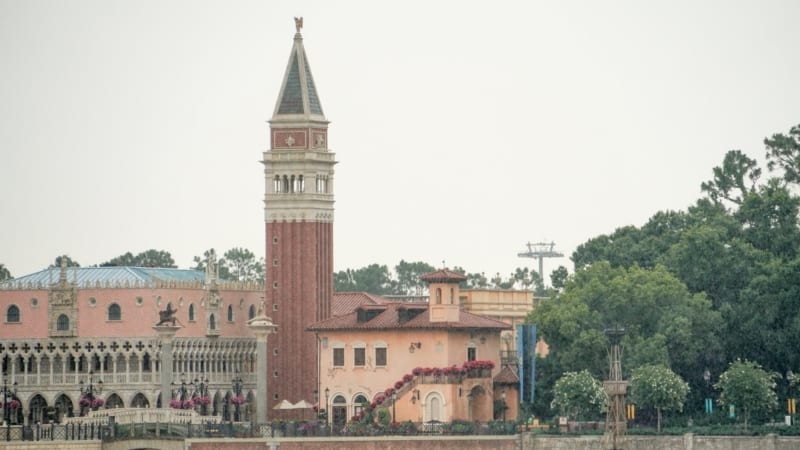 italy pavilion in Epcot with Disney Skyliner tower behind