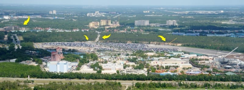 Hollywood Studios Parking Lot Construction Update May 2018 Hollywood studios aerial shot