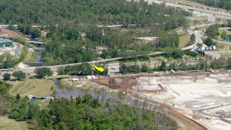 Hollywood Studios Parking Lot Construction Update May 2018 excavator route