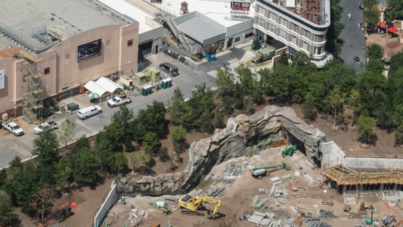 Star Wars Galaxy's Edge entrance rock work and trees