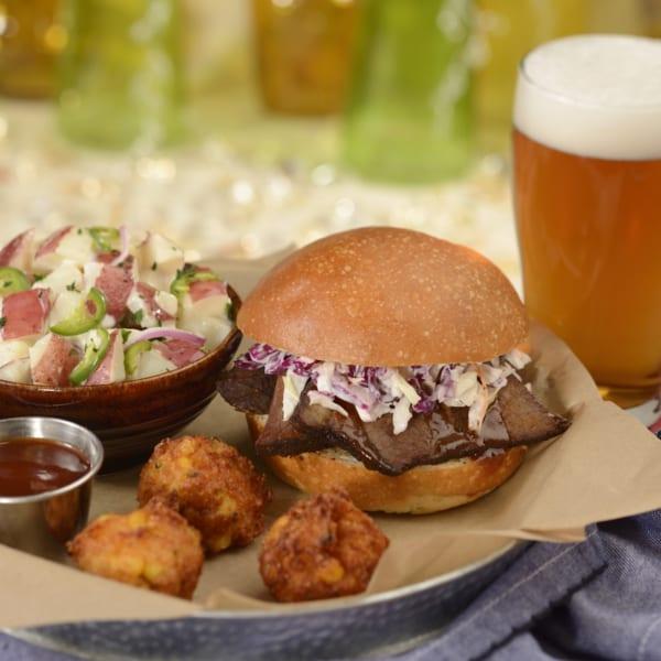 New Menu at The Diamond Horseshoe Restaurant brisket sandwich