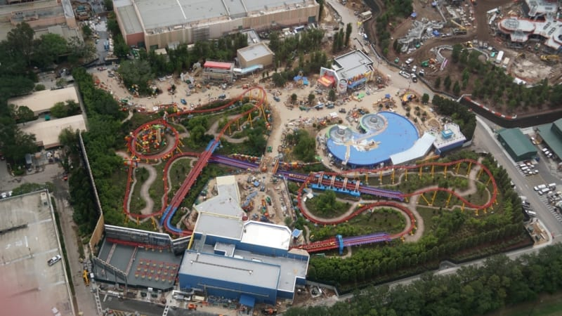 Slinky Dog Dash Testing 3 Trains in Latest Toy Story Land Update aerial