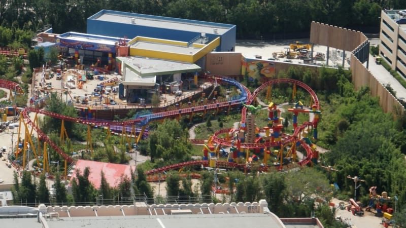 Toy Story Land Construction Update May 2018 slinky dog dash track