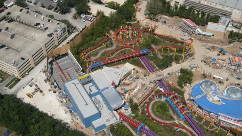 Toy Story Land Construction Update May 2018 slinky dog dash coaster
