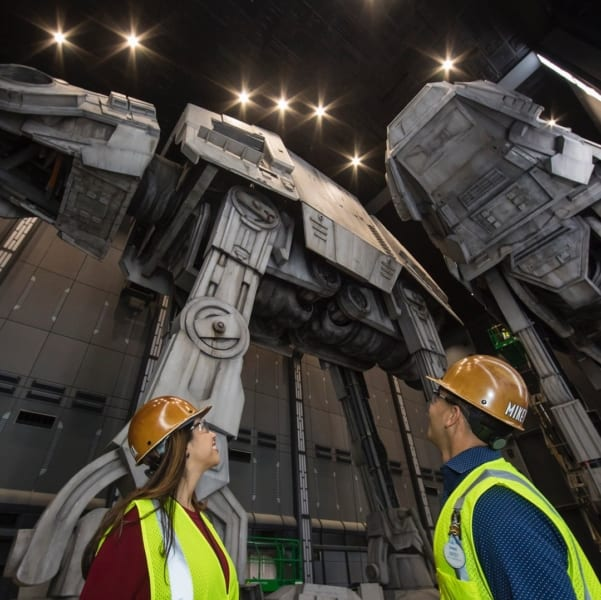 AT-AT Walkers Inside Battle Escape Attraction in Galaxy's Edge