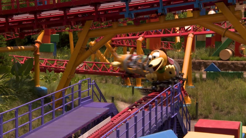 Cast Members Ride Slinky Dog Dash Coaster in Toy Story Land