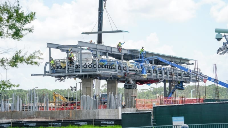 Roof Added to Disney Skyliner Station in Hollywood Studios as being worked on