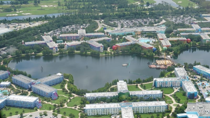 Disney Skyliner Station Pop Century and Art of Animation route through lake