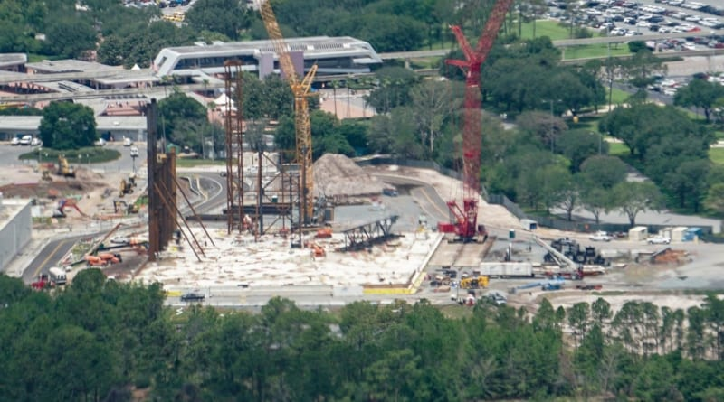 Guardians of the Galaxy Coaster Roof Being Prepared aerial