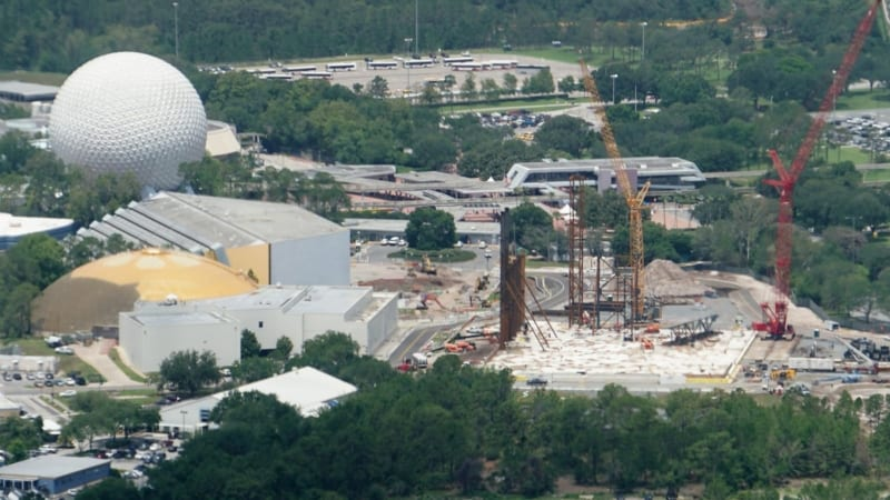 Guardians of the Galaxy Coaster Roof Being Prepared aerial shot
