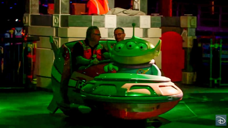Nighttime Preview of Toy Story Land alien swirling saucers