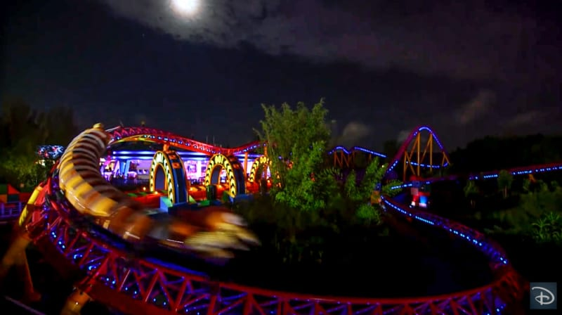 Nighttime Preview of Toy Story Land slinky dog dash curve