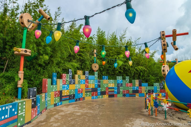 Sneak Peak at Toy Story Land Theming Disneyland Paris lights on the pathway