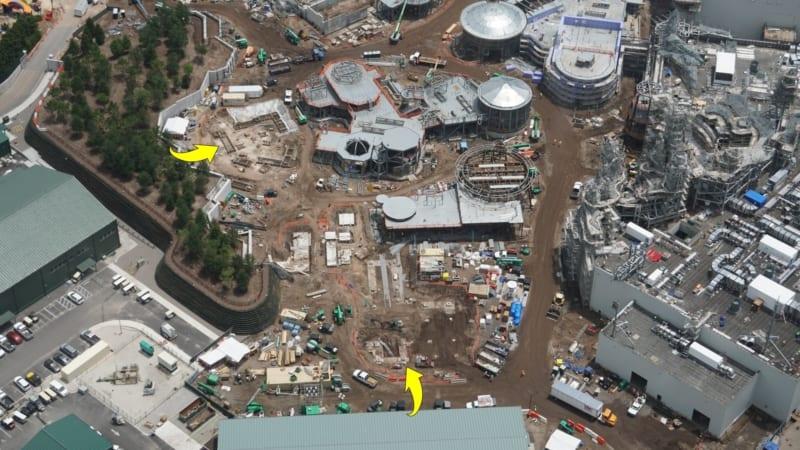 Star Wars Galaxy's Edge Construction Update June 2018 black spire outpost construction