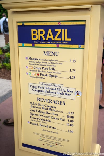 2018 Epcot Food and Wine Festival Menus Brazil