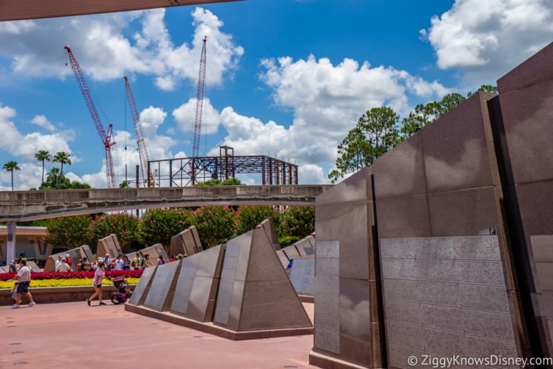 Guardians of the Galaxy Construction July 2018 impact around Epcot