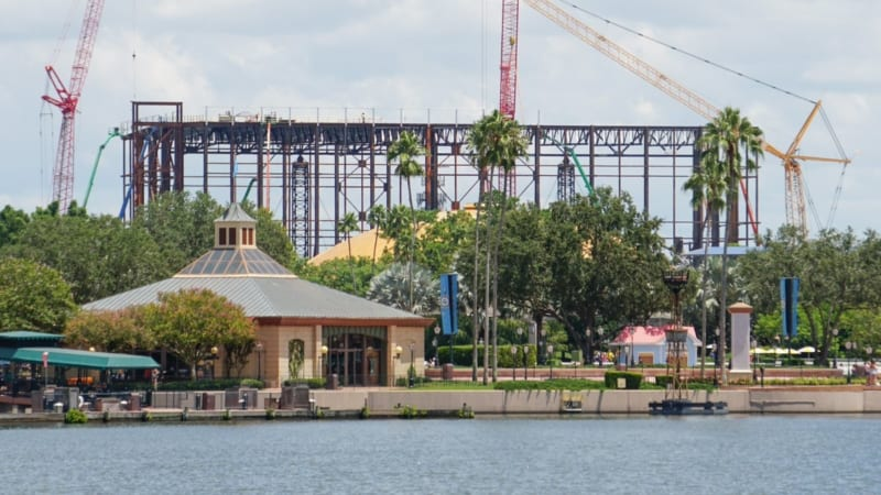 Guardians of the Galaxy Coaster Construction August 2018 across lagoon