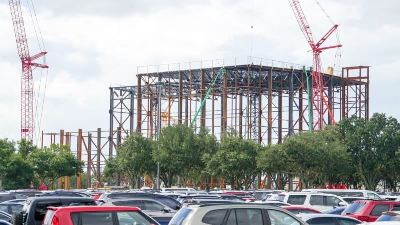 Guardians of the Galaxy Coaster Construction August 2018 steel frame